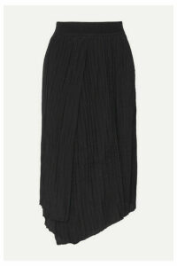 Vince - Asymmetric Pleated Crepe Midi Skirt - Black