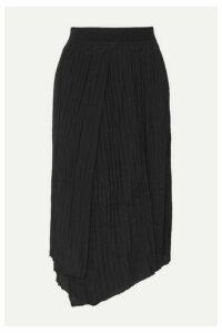 Vince - Asymmetric Pleated Crepe Midi Skirt - Black