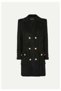 Balmain - Button-embellished Double-breasted Wool And Cashmere-blend Coat - Black