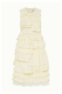 Moncler Genius - + 4 Simone Rocha Embellished Ruffled Lace-trimmed Broderie Anglaise Shell Dress - Ivory