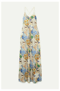 Esteban Cortázar - Printed Satin Maxi Dress - Cream