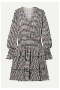 MICHAEL Michael Kors - Wrap-effect Tiered Checked Voile Mini Dress - Black
