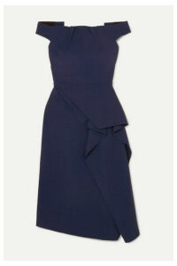 Roland Mouret - Arch Off-shoulder Draped Crepe Dress - Navy