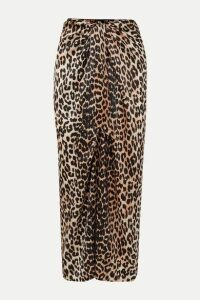 GANNI - Tie-front Leopard-print Silk-blend Satin Midi Skirt - Leopard print