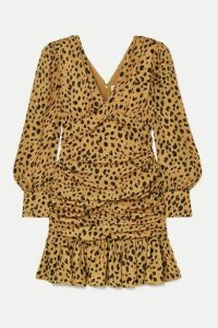 Nicholas - Ruched Ruffled Leopard-print Silk-crepe Mini Dress - Leopard print