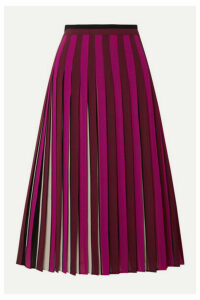 MICHAEL Michael Kors - Pleated Striped Crepe Midi Skirt - Magenta