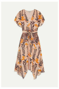 Temperley London - Bellflower Sequin-embellished Floral-print Chiffon Midi Dress - Peach