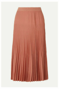 Agnona - Pleated Wool Midi Skirt - Blush