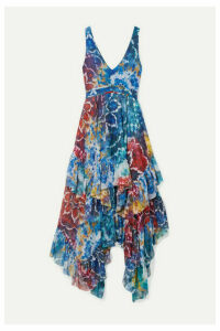 Alice + Olivia - Ilia Ruffled Printed Georgette Midi Dress - Blue