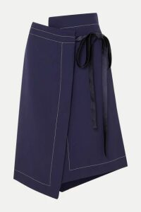 Marni - Asymmetric Wool Wrap Skirt - Navy