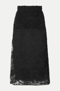 Prada - Paneled Lace Midi Skirt - Black