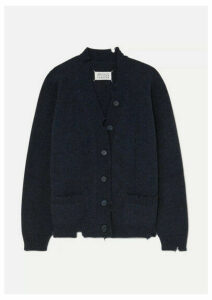 Maison Margiela - Distressed Mélange Wool Cardigan - Navy