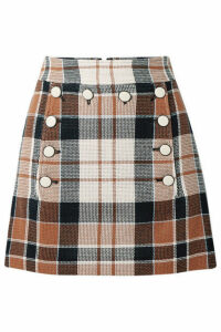 Veronica Beard - Ording Button-detailed Checked Cotton And Flax-blend Mini Skirt - Camel