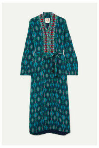 Figue - Olatz Beaded Printed Crepe De Chine Coat - Turquoise