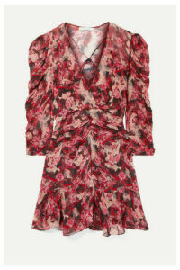 IRO - Wick Wrap-effect Ruched Floral-print Crepon Mini Dress - Red