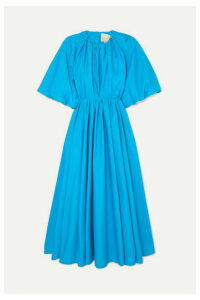 Roksanda - Medeya Gathered Cotton-sateen Midi Dress - Blue