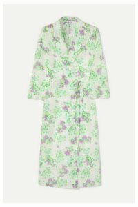 BERNADETTE - Elle Floral-print Silk Crepe De Chine Wrap Midi Dress - Green