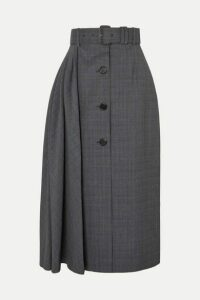 Prada - Pleated Prince Of Wales Checked Wool-blend Midi Skirt - Gray