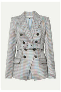 Veronica Beard - Harvey Belted Houndstooth Woven Blazer - Beige