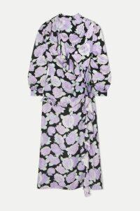 Miu Miu - Crystal-embellished Ruffled Floral-print Silk-jacquard Maxi Dress - Lilac