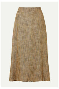 Theory - Herringbone Tweed Midi Skirt - Brown