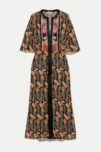 Temperley London - Rosy Embroidered Floral-print Crepe De Chine Midi Dress - Black