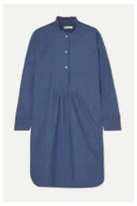 Atlantique Ascoli - Ruffled Gathered Cotton-poplin Dress - Blue