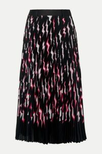 Prada - Pleated Printed Satin Midi Skirt - Black