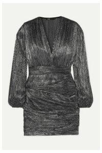 Maje - Ruched Lamé Mini Dress - Gunmetal