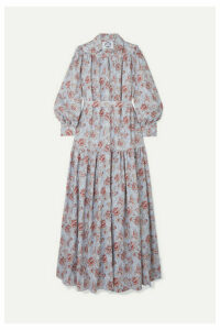 Evi Grintela - Elsa Belted Tiered Floral-print Cotton Maxi Dress - Blue