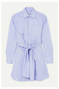 Wright Le Chapelain - Knotted Striped Organic Cotton-poplin Shirt - Blue