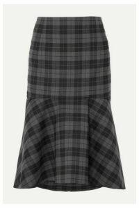 Balenciaga - Ruffled Checked Twill Midi Skirt - Gray