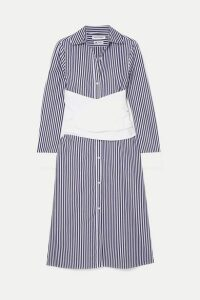 Wright Le Chapelain - Striped Cotton-poplin Midi Dress - Blue
