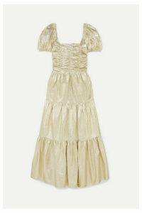 Georgia Alice - Vegas Tiered Metallic Crinkled-vinyl Maxi Dress - Gold