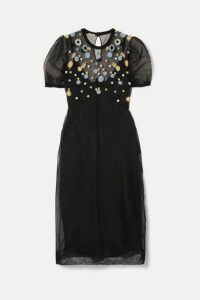 Miu Miu - Embroidered Tulle Midi Dress - Black
