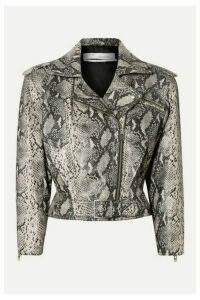 IRO - Perrio Cropped Snake-effect Leather Biker Jacket - Snake print