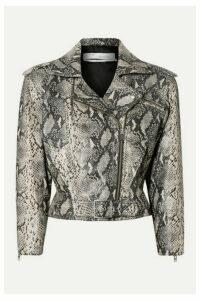 IRO - Perrio Cropped Snake-effect Leather Biker Jacket - Snake print
