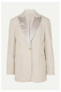 Brunello Cucinelli - Satin-trimmed Leather Blazer - Stone