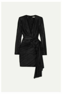 Givenchy - Bow-embellished Plissé-satin Mini Dress - Black