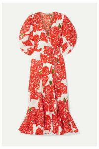 Rhode - Fiona Floral-print Cotton-voile Wrap Midi Dress - Red