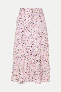Nicholas - Floral-print Silk Crepe De Chine Midi Skirt - Pink
