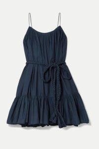 Rhode - Nala Ruffled Cotton-poplin Mini Dress - Navy