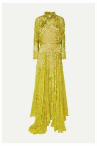 Preen by Thornton Bregazzi - Mary Ruffled Printed Devoré-chiffon Maxi Dress - Yellow