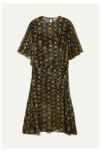 Preen by Thornton Bregazzi - Lydia Floral-print Devoré-chiffon Midi Dress - Black