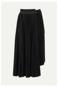 Sacai - Belted Pleated Wool And Crepe Midi Skirt - Black