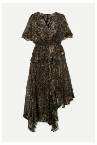 Preen by Thornton Bregazzi - Esther Asymmetric Ruffled Leopard-print Devoré-chiffon Dress - Black