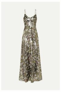 GANNI - Floral-print Metallic Silk-blend Maxi Dress - DK42