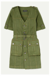 House of Holland - Belted Denim Mini Dress - Army green