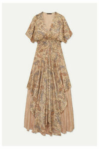 Maje - Rachel Asymmetric Printed Devoré-satin Dress - Beige