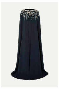 Oscar de la Renta - Cape-effect Crystal-embellished Silk-blend Crepe Gown - Navy